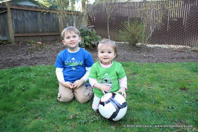 Kids ready the Sounders soccer game